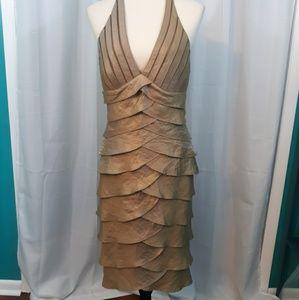 Cache metallic tiered ruffle halter dress sz 8